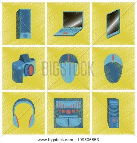assembly flat shading style icons Gadgets electronics
