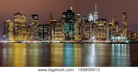 New York City Manhattan Buildings Skyline Night Evening