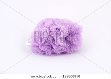 Soft Purple Bath Puff Or Sponge Isolated On White Background
