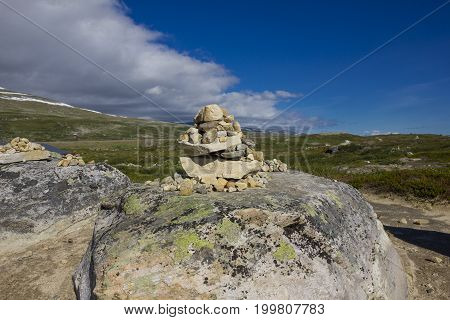 Stone tower on the Arctic Circle in Norway.