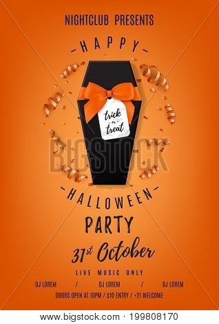 Halloween party flyer with black gift box. Top view on realistic box with satin orange bow. Vector illustration with confetti and serpentine. Invitation to nightclub.