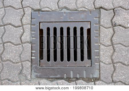 A hole for drainage on the streets