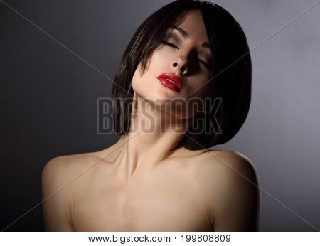 Drama Portrait Of Mystic Woman With Closed Eyes And Short Black Hairstyle On Dark Background. Closeu