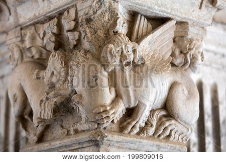 MONTMAJOUR FRANCE - JUNE 26 2017: Romanesque capitals of the columns in the cloisters of the Abbey of Montmajour near Arles France