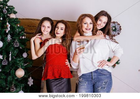 Sisters girls having fun on Christmas and New Year holiday