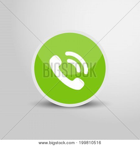 Call icon in circle. Call 3D round circle icon. Vector stock.