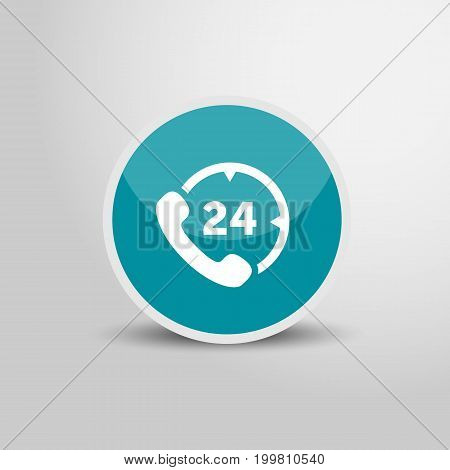 Call 24 icon in circle. Call 24 3D round circle icon. Vector stock.