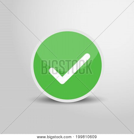 Check icon in circle. Check sign 3D round circle icon. Vector stock.