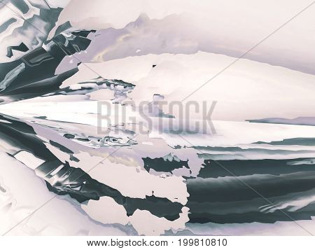 Background of glitch manipulations with 3D effect. Abstract flow of crystals in white and grey shades. It can be used for web design printed products and visualization of music
