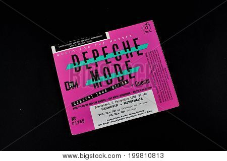 An image of a concert ticket from Depeche Mode - Editorial - Hannover/Germany - 11/07/1987