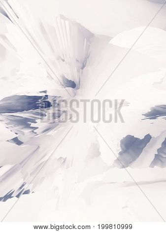 Background of glitch manipulations with 3D effect. Abstract flow of crystals in white and blue shades. It can be used for web design printed products and visualization of music