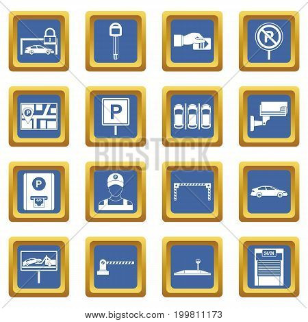 Car parking icons set in blue color isolated vector illustration for web and any design