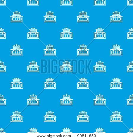Theater building pattern repeat seamless in blue color for any design. Vector geometric illustration