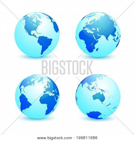 Realistic blue Earth globe in four turns on white background. North and South America Eurasia and Africa Atlantic Australia in rotations. Vector illustration