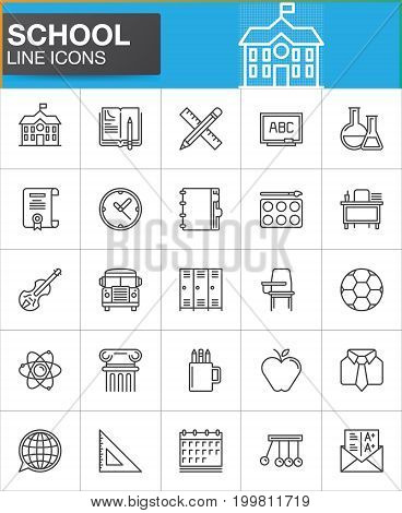 School line icons set, outline vector symbol collection, linear style pictogram pack. Signs, logo illustration. Set includes icons as homework, school building, violin, ball, bus, flask, atom grades