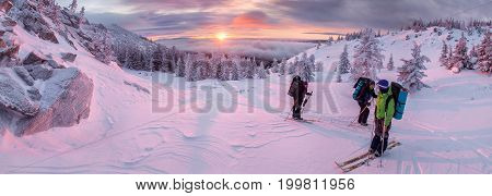 people go skiing in winter mountains panorama