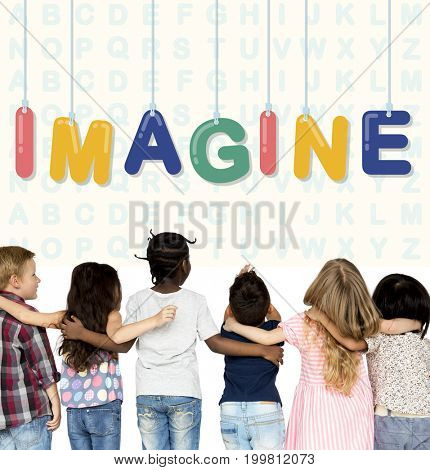Group of students with creativity imagination illustration