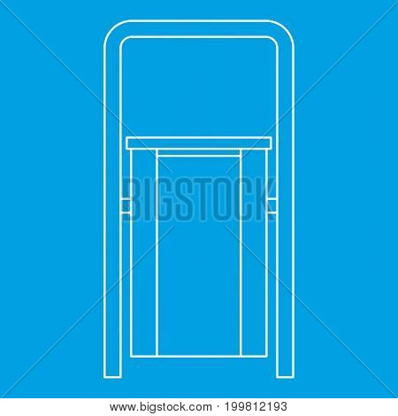 Outdoor litter waste bin icon blue outline style isolated vector illustration. Thin line sign