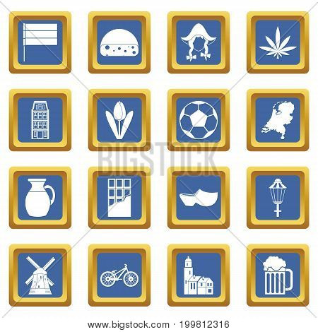 Netherlands icons set in blue color isolated vector illustration for web and any design