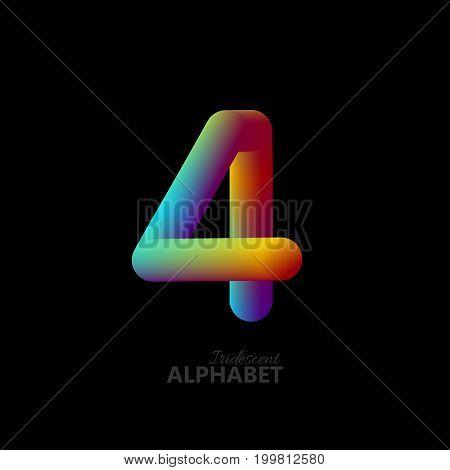 3d iridescent gradient number 4. Typographic minimalistic element. Vibrant gradient shape. Liquid color path. Creativity concept. Visual communication poster design. Figure four. Vector illustration