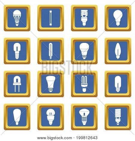 Light bulb icons set in blue color isolated vector illustration for web and any design