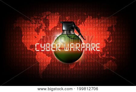 Hand grenade on the binary code world map with cyber warfare attack, vector illustration