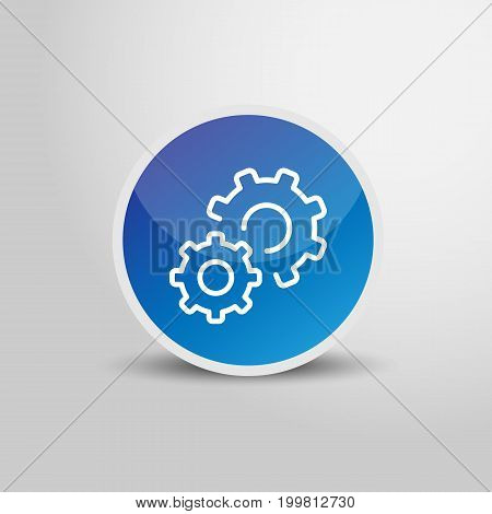 Setting icon in circle. Setting sign 3D round circle icon. Vector stock.