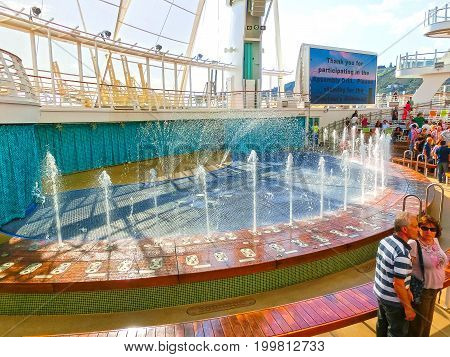 BARCELONA, SPAIN - SEPTEMBER 06, 2015: The cruise ship Allure of the Seas of Royal Caribbean International company. The view of the ship at day