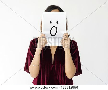 Illustration of wow surprise face on banner