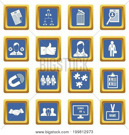 Human resource management icons set in blue color isolated vector illustration for web and any design