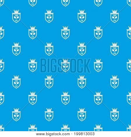Coat of arms of tennis club pattern repeat seamless in blue color for any design. Vector geometric illustration