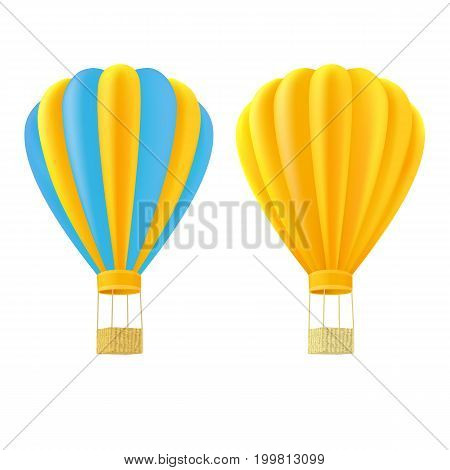 Yellow and orange air ballon with basket over white background