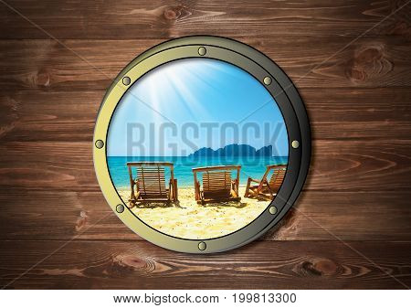 The ship window with tropical sea or ocean island. Travel and adventure concept. Thailand beach at frame