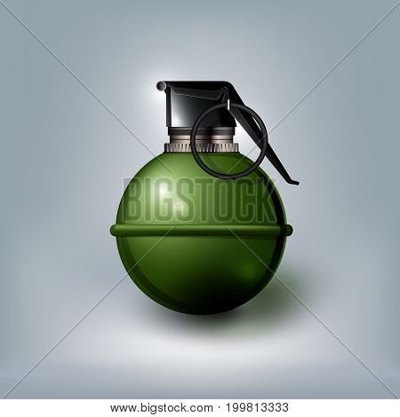 Hand grenade on white background, isolated, vector illustration