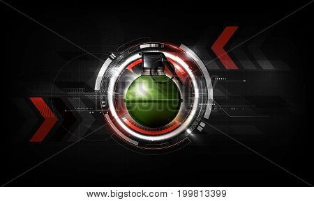 Hand grenade on abstract Futuristic Technology Background with attack concept, vector illustration