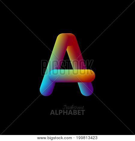 3d iridescent gradient letter A. Typographic minimalistic element. Vibrant gradient shape. Liquid color path. Creativity concept. Visual communication poster design. Vector illustration. Logo template