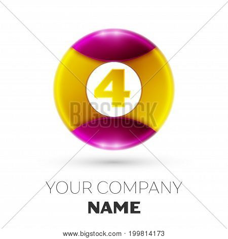 Realistic Number four vector logo symbol in the colorful circle on white background. Vector template for your design