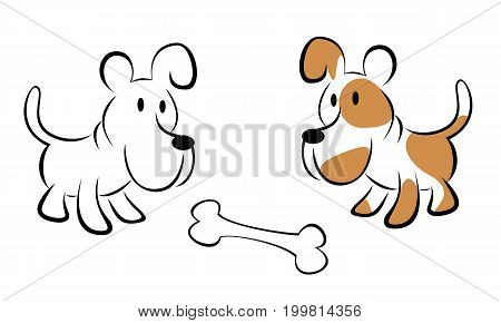 Two dogs are looking at the bone isolated on a white background