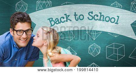 Girl whispering in teacher ear against back to school against green chalkboard