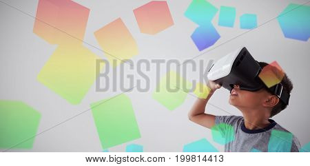 Three dimension image of square with formulas against schoolboy using virtual reality headset