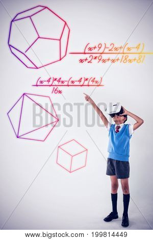 Formula over white background against schoolboy using virtual reality headset