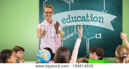 Students raising hands while teacher teaching against education against green chalkboard
