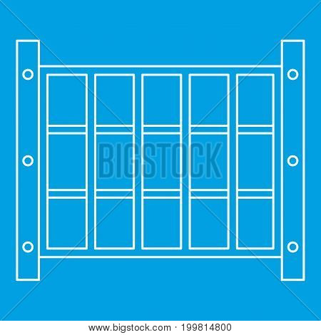 Yard fence icon blue outline style isolated vector illustration. Thin line sign
