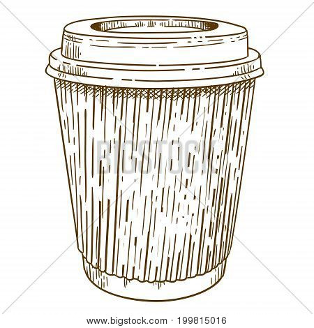 Vector antique engraving illustration of takeaway coffee cup isolated on white background