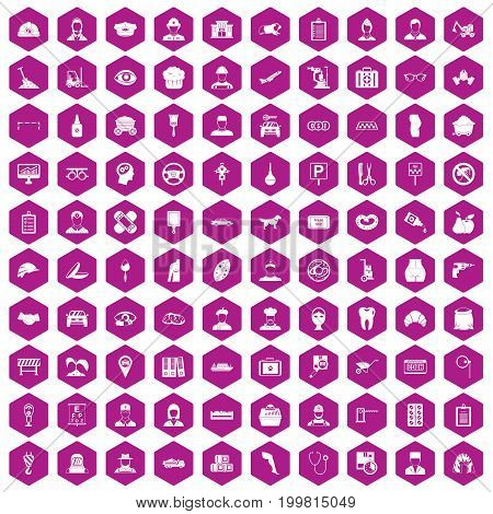 100 favorite work icons set in violet hexagon isolated vector illustration