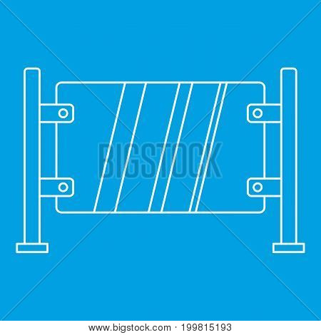Glass gate icon blue outline style isolated vector illustration. Thin line sign