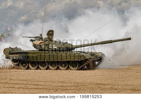 Tyumen, Russia - August 6, 2017: International Army Games. Safe Route contest. Tank T-72 tank in action