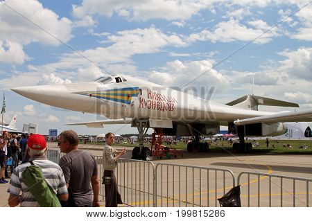 Moscow Region - July 21 2017: Supersonic strategic bomber-missile carrier with variable sweep wing Tu-160 (for NATO codification: