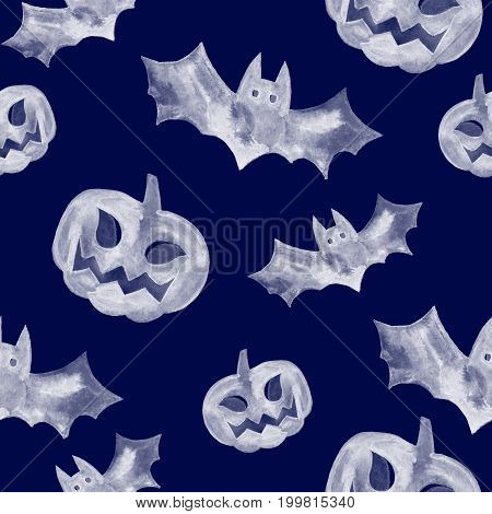 Halloween seamless pattern with halloween pumpkin and bat. Cute naive watercolor