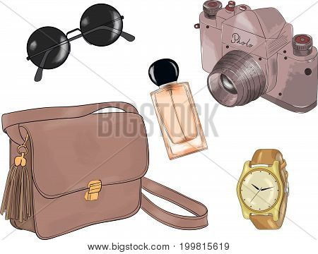 Vector of hand drawn fashion illustration isolated on white background. A set of summer accessories: handbag glasses camera watch and perfume.